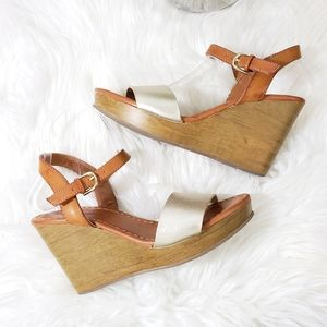 American Eagle Outfitters Shoes - American Eagle Silver Platform Wedges Size 8